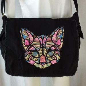 Handbags - Mosaic Kitty Canvas Messenger Bag